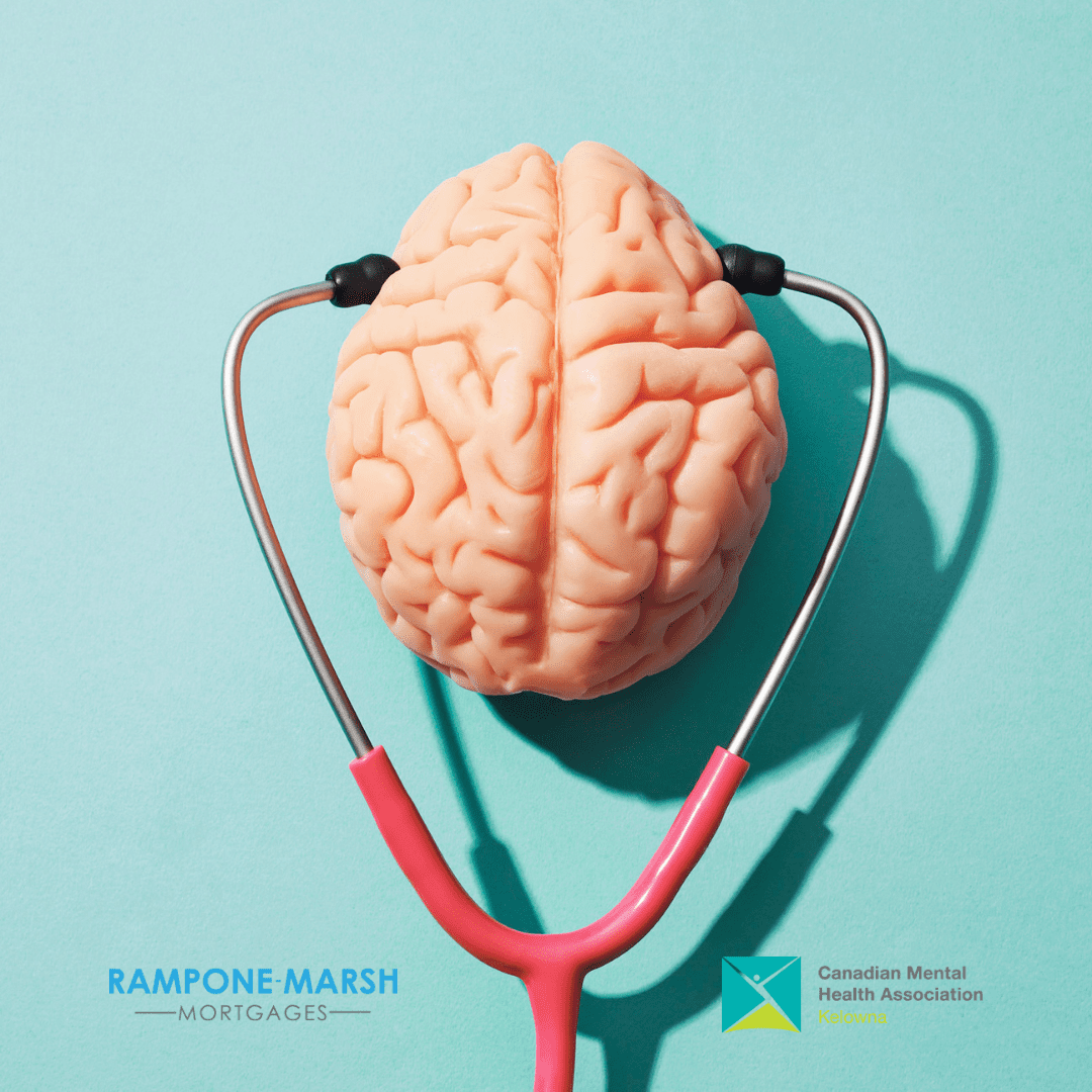 Brain with stethoscope and mental health matters team CMHA Kelowna and Rampone-Marsh Mortgages